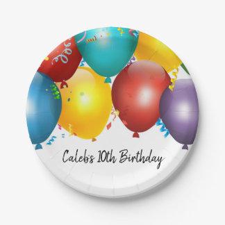 Bunte Ballone u. Confetti-Geburtstags-Party Pappteller