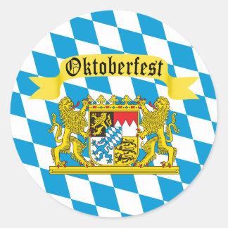 Bunte bayerische Flagge Oktoberfest Runder Aufkleber