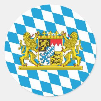 Bunte bayerische Flagge Runder Aufkleber