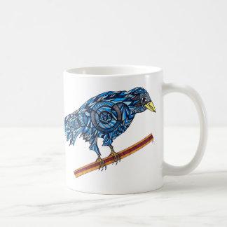 Bunte blaue Krähen-Tasse Kaffeetasse