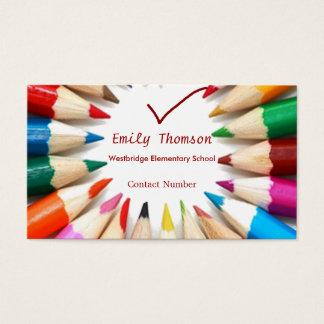 Bunte Bleistift-Lehrer-Visitenkarte Visitenkarte