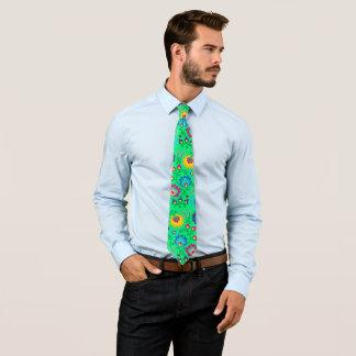 Bunte Blumen, entspringen grüne Art Krawatte