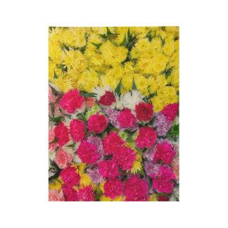 Bunte Blumen Holzposter