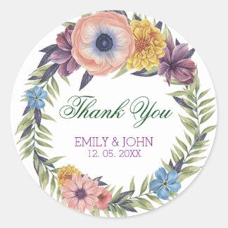 Bunte Blumen Kranz-Danken Ihnen Runder Aufkleber