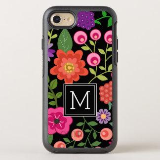 Bunte Blumen mit schwarzem Hintergrund-Monogramm OtterBox Symmetry iPhone 8/7 Hülle