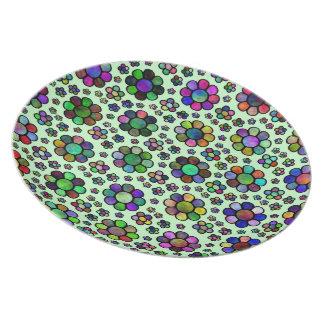 Bunte Blumen-Muster-gefärbte Krawatte Teller