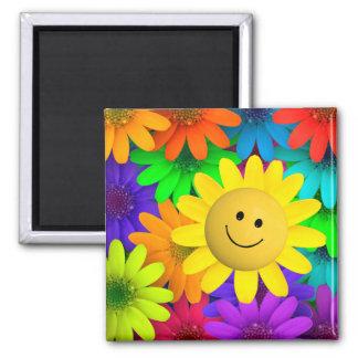 Bunte Blumen Quadratischer Magnet