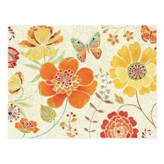 Bunte Blumen und Schmetterlinge Postkarten