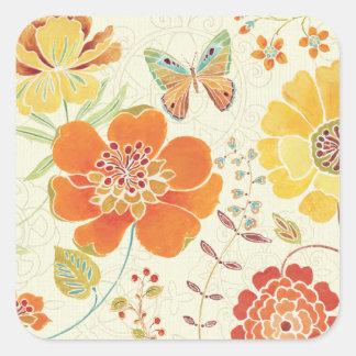 Bunte Blumen und Schmetterlinge Quadratischer Aufkleber