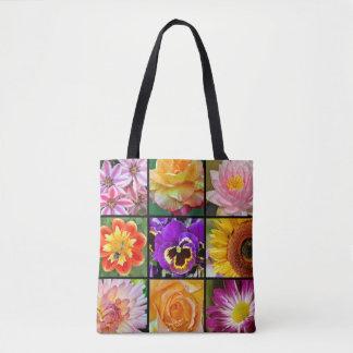 Bunte Blumencollage Tasche