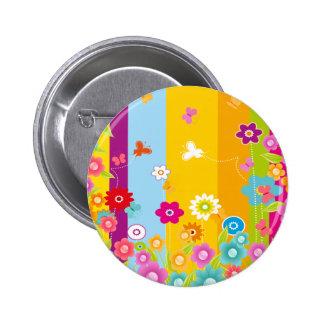 Bunte Blumenschmetterlinge und -stangen Runder Button 5,7 Cm