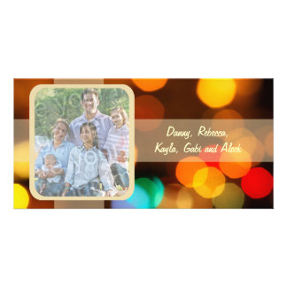 Bunte Blurry Licht-Feiertags-Foto-Karte Bildkarte