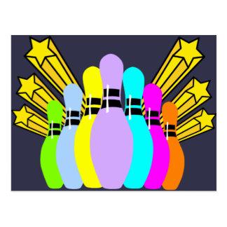 Bunte Bowlings-Buttone Postkarte