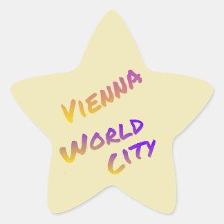 Bunte Buchstabekunst der Wien-Weltstadt hellgelb Stern-Aufkleber