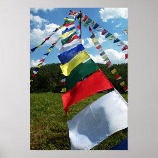 Bunte buddhistische Gebets-Flagge Pole Poster