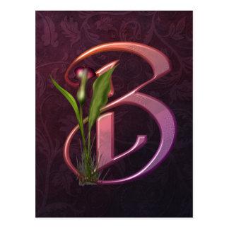 Bunte Calla-Initiale B Postkarte