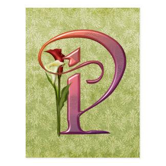 Bunte Calla-Initiale P Postkarte