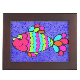 Bunte Cartoon-Fische, die mit blauem Hintergrund Erinnerungsdose