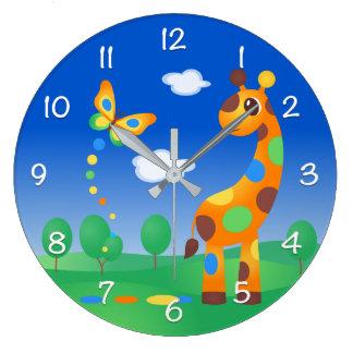 Bunte Cartoon-Giraffe und Schmetterling Große Wanduhr