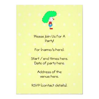 Bunte Clown-Karikatur 16,5 X 22,2 Cm Einladungskarte