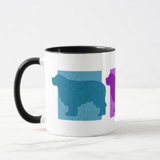 Bunte Clumber Spaniel-Silhouetten Tasse