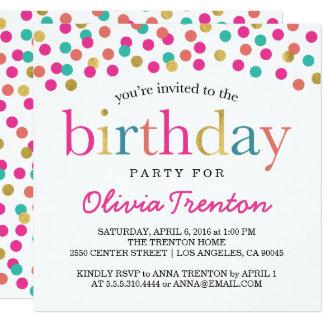 Bunte Confetti-Geburtstags-Party Einladungen