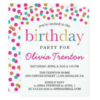 Bunte Confetti-Kindergeburtstag-Party Einladungen