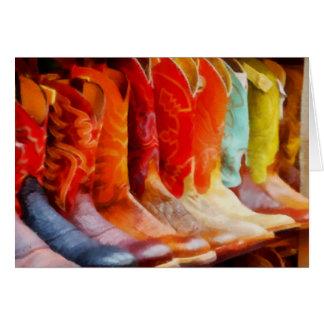 Bunte Cowboystiefel Grußkarte