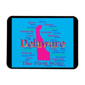 Bunte Delaware-Staatsstolz-Karten-Silhouette Magnet