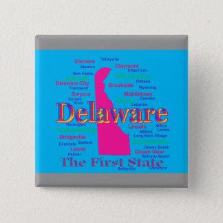 Bunte Delaware-Staatsstolz-Karten-Silhouette Quadratischer Button 5,1 Cm