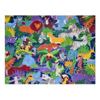 Bunte Dschungel-Tiere Postkarte