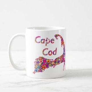 Bunte dynamische Herz-Gefüllte Karte von Cape Cod Kaffeetasse