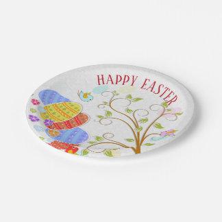 Bunte Eier und Vogel-Blumen fröhliche Ostern Pappteller