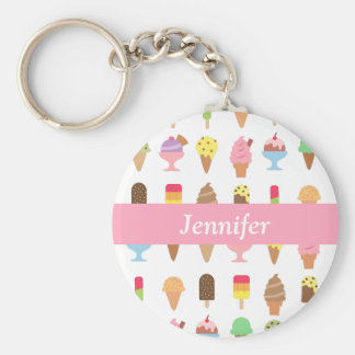 Bunte Eiscreme-Nachtisch-Mädchen NamensKeychain Schlüsselanhänger