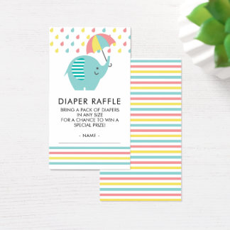 Bunte Elefant-Babyparty-Windelraffle-Karte Visitenkarte