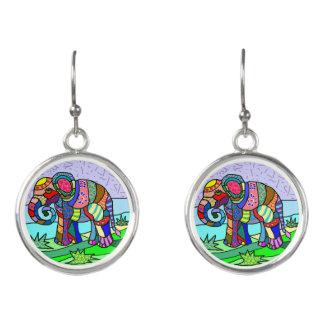 Bunte Elefantmalerei Stammes- Batik Hippie Ohrringe