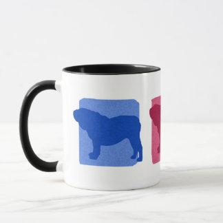 Bunte englische Bulldoggen-Silhouette-Tasse Tasse
