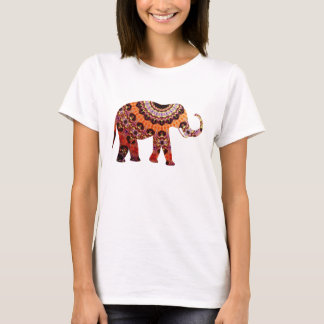 Bunte ethnische Muster-Elefant-Illustration T-Shirt