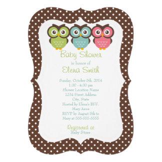 Bunte Eulen-Tupfen-Babyparty Einladungskarten