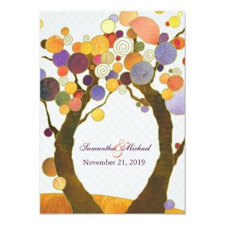 Bunte Fall-Liebe-Baum-moderne Hochzeit 12,7 X 17,8 Cm Einladungskarte