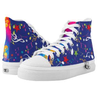Bunte Farbe spritzt die musikalischen abstrakten Hoch-geschnittene Sneaker