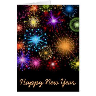 Bunte Feuerwerke neues Jahr Karte