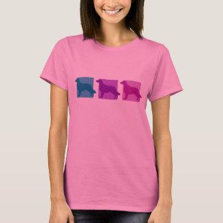 Bunte Flach-Überzogene Retriever-Silhouetten T-Shirt