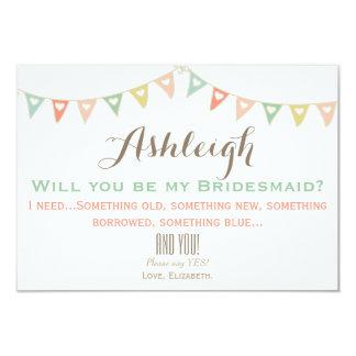 Bunte Flagge sind Sie meine Brautjungfer? 8,9 X 12,7 Cm Einladungskarte