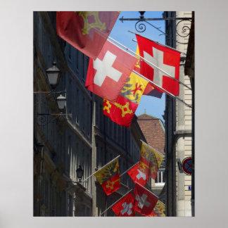 Bunte Flaggen in Genf, die Schweiz Poster