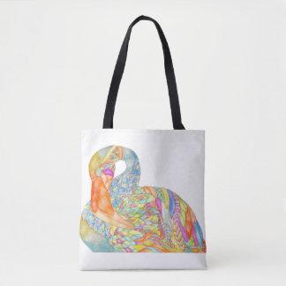 Bunte Flamingo-Taschentasche mit Blaurückseite Tasche