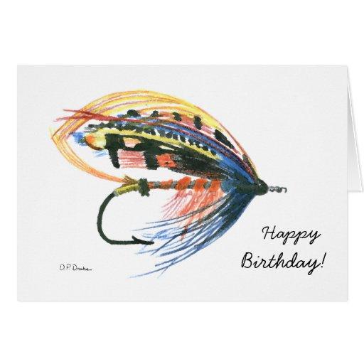 Bunte Fliegen-Fischen-Geburtstags-Karte