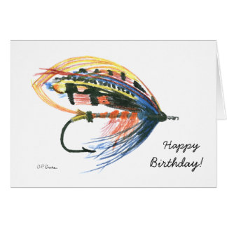Bunte Fliegen-Fischen-Geburtstags-Karte Grußkarte