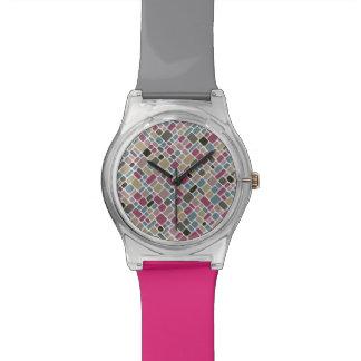 Bunte Fliesenmusteruhr Armbanduhr