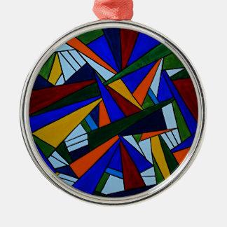 Bunte Fragmente Rundes Silberfarbenes Ornament